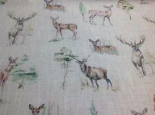 Clarke and Clarke DEER/STAGS  Linen Blend Fabric Curtains/ Roman Blinds/Cushions