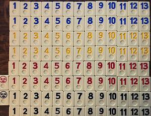 Original Rummikub Set 106 Replacement Tiles Replacement Larger #s Older Tiles