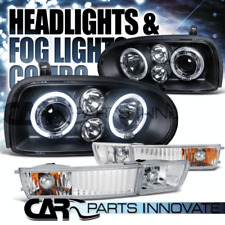 Fit 93-98 Golf 95-98 Cabrio Black Halo Projector Headlights+Clear Fog Lamps