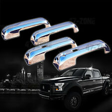 For 15-16 Ford F150 4 DR Smart Key Chrome ABS Plastic Overlay Door Handle Covers