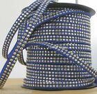 1M cordon Daim Textile Plat 5X1,3mm Suedine BLEU Jean Strassée DORE# DS22