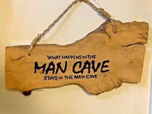 Man Cave Wood Sign, made on Natural wood,