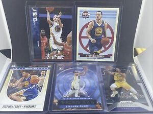 Lot Of 5 Stephen Curry Cards NBA Hoops 64, Prizm, Optic, Threads, Past