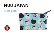 NEW Japanese Lucky Cats Blue Ladies Silicon Zipper Pouch Cosmetic Pen Travel