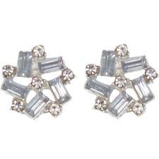 CLIP ON Earrings Crystal Silver Rhinestone Fake Ear Studs Stud Non Pierced #13