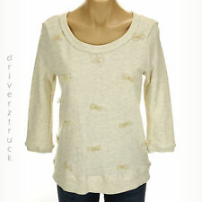 LAUREN CONRAD Small IVORY TOP Marshmallow FRENCH TERRY PULLOVER Chiffon BOWS