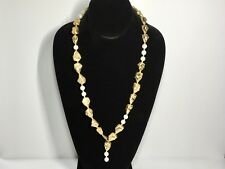 "Boutique Pearl and Golden Colored Nugget Necklace 13"" Handmade (White,Gold)"