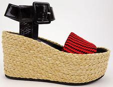 Celine Paris Red & Black Patent Leather Platform Wedge Sandals EU 39 US 9 $990