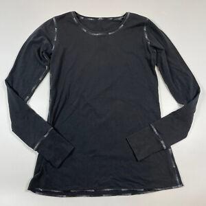 Lululemon Black Reflective Ombre Seams Long Sleeve Womens Top Keyhole Sleeve