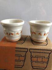 Longaberger Pottery Candy Corn Votives Set of 2 - Mint in box Never Used