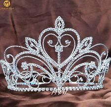 Heart Beauty Pageant Tiara Large Crown Rhinestone Headband Wedding Party Costume