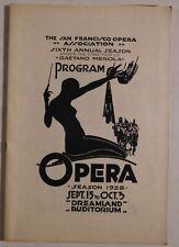 Sf Opera Association rare vintage program Sept 15/Oct 3 1928 merola