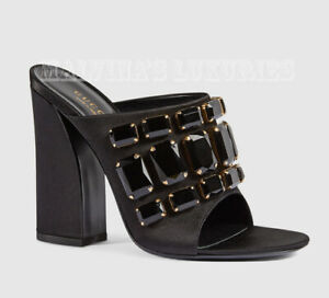 GUCCI SHOES TESSA BLACK SATIN SANDALS MULES WITH CRYSTALS $990 IT 38.5 US 8.5