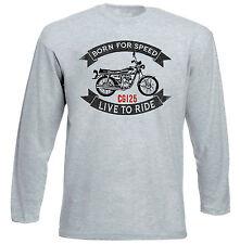 HONDA CG 125-NUOVO GRIGIO T-shirt A Maniche Lunghe-Tutte le taglie in magazzino