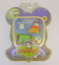 Rare Hamtaro Set Lit Ham-Ham 2 figurines 2002 Blister Neuf