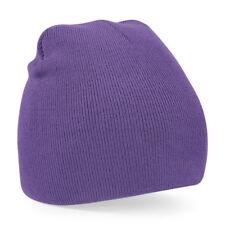 Unisex Purple Soft Feel Beanie Hat - Winter, Autumn, Warm, Snow, Ice, Rain, Wind