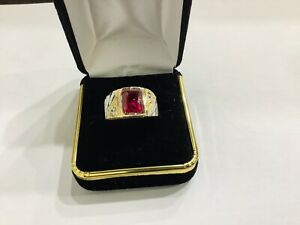 Ruby, 1.5ct  , 14k  Multi Colors Gold Men's Gemstone Ring Size 9.