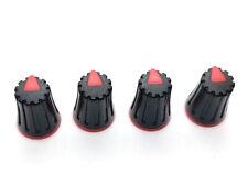 4 Red & Black D-Shaft Pot Knobs for 6mm 270° Dj-Tech Behringer Soundcraft Mixer