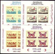 Dubai 1963 ** bl.1/4 B cruz roja Red Cross camellos camels mariposas