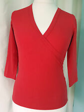 ZARA RED 3/4 sleeve cross over stretch cotton mix top size M bargain RRP£22