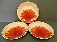 American Atelier At Home Sunflower 5608 Salad Plates Orange Yellow--Lot of 3!!