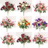 US Handmade Wedding Decoration Small Bud Rose Artificial Flowers Bridal Bouquet