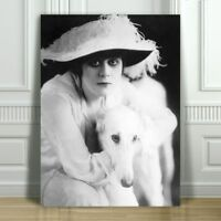 "THEDA BARA & Dog - Silent Film Actress - CANVAS ART PRINT POSTER - B&W - 16x12"""