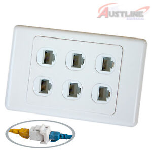 RJ45 Cat6 6Port Wall Plate 6Gang Network LAN Coupler F/FJack cw6c6ff