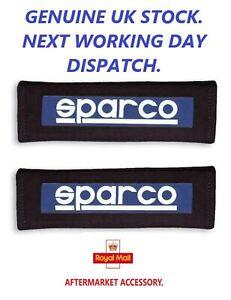 SPARCO Motorsport, SOFT Cotton    Seat Belt Pads  Blue/Black White.  1 Pair