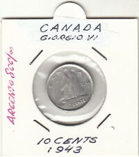 CANADA ARGENTO 1943 Canadian TEN 10 cent piece silver coin dime King George VI