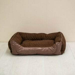 Premium Quilted Pet Dog Sofa Bed With Faux Leather Panel
