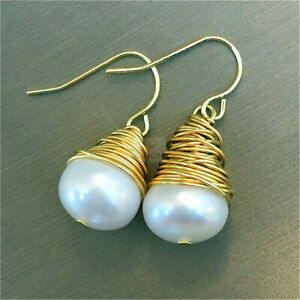 12-13mm White Baroque pearl earring 18k Ear Drop AAA dangler aurora Mesmerizing
