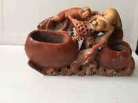 Chinese antiques carved soapstone Ink Pot With Monkeys