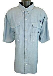 Columbia Mens PFG Shirt Size XXL 2XL Super Bonehead Blue Chambray Short Sleeve