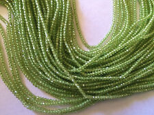 "13.5"" STRAND AAA GEM 2MM ROUND MICRO FACETED GENUINE PERIDOT BEADS"