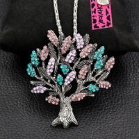 Betsey Johnson Women's Crystal Mulberry Tree Pendant Chain Necklace/Brooch Pin