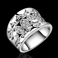 Fashion Women 925 Sterling Silver Plated Solid Ring Wedding Jewelry US Size 7/8