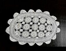 Hand-Knitted Table Center Piece by Cotton Yarn in White, Size:71cm x 42cm