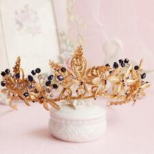 Black Crystal Rhinestone Queen Gold Crown Tiara Wedding Bridal Hair Accessories