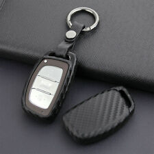 Carbon Fiber Smart Car Key Case Cover Chain For Hyundai Tucson Elantra Sonata