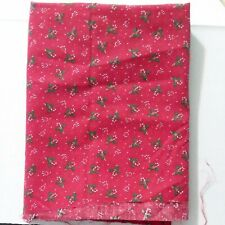 """Red Christmas Candy Cane & Holly Fabric Quilt Crafts Sewing 37"""" x 43"""" Holiday"""