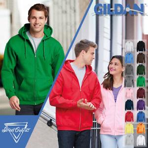 Gildan Full Zip Hoodie Heavy Blend Plain Unisex Casual Jumper Sweater Top S-5XL