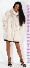 M-L WONDERFUL SOFT BLUE FOX LONG FUR JACKET with standup collar
