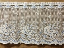 Window Lace Valance Antique White and Blue Victorian Rose Kitchen Bedroom