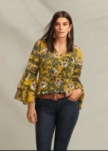 Cabi Scene Blouse - Size Small - Spring Yellow Floral Bell Sleeve Blouse #5518