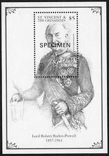 St Vincent & Grenadines: Lord Baden-Powel; mint mini sheet overprint SPECIMEN