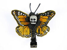 Hairy Scary Light Orange Mini Kahlovera Skull Butterfly Feather Hair Clip
