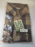 Vintage Sears Roebuck Men's Tall Flannel Shirt Button Brown Tan XL 17-17.5 NWT