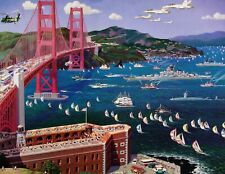 "Alexander Chen ""Golden Gate Bridge"" San Francisco Signed Numbered Art Print, OBO"