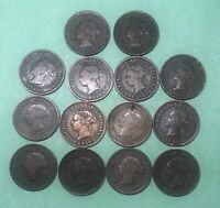 A Lot Of Large Cents , Canada, Queen Victoria- 14 Coins